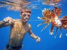 Sama DIlaut fisherman with Lionfish Catch, Sampela, Wakatobi, Sulawesi, Indonesia