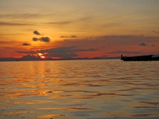 Bajau Laut Houseboat in Sunset, Malaysia, Semporna