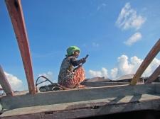Bajau Laut Woman on Fishing Trip, Mabul, Semporna, Malaysia